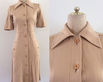 1970's Tan Fitted Button Up Shirtwaist Dress Vintage Button Up Dress Size Small Medium by Maeberry Vintage