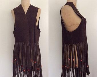 1970's Brown Suede Leather Beaded Fringe Vest Vintage Hippie Vest Size Large XL Plus Size Vintage by Maeberry Vintage