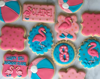 Pink Flamingos at the Beach Sugar Cookie Collection