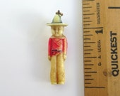 Celluloid Charm - Figure in Top Hat, Vintage hand Colored