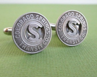 Colorado Springs Transit Token Cuff Links - Vintage CO Repurposed Coins