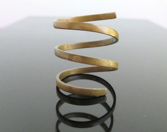 Vintage Solid Brass Wrap Around Ring - Adjustable