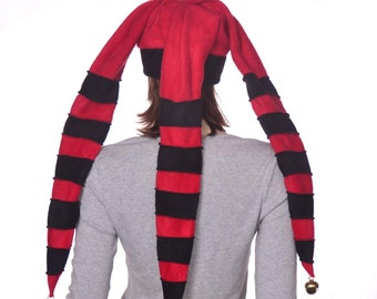 Long Jester Hat Red and Black Striped Gold Bells Three Pointed Fleece Harlequin Cap Costume Hat