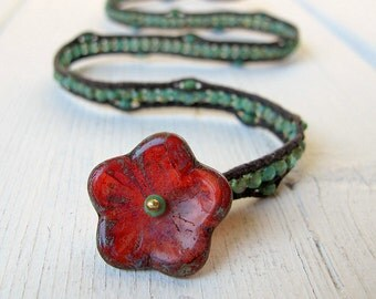 Bohemian Wrap Bracelet, Vegan Friendly Jewelry, Czech Glass Flower, Double Wrap Bracelet, Wrist Corsage, Hippie Bijoux, Boho Chic, Coachella