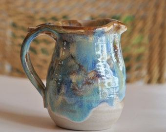 Pottery Creamer in Tricolor Glaze Wheel Thrown