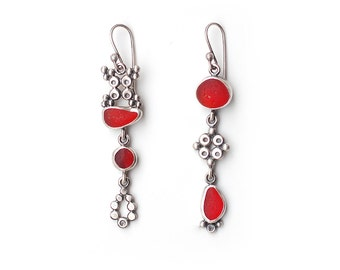 Mismatched Red Sea Glass Earrings With Granulated Shapes Sterling Silver Bezel Set