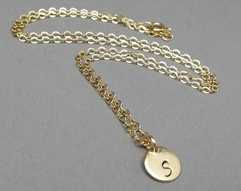 Tiny 14k Yellow Gold Filled Initial disk, Personalized Initial Disk Necklace