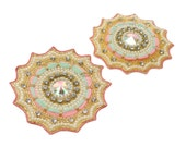 Decorative Royal Applique Indian Designer Pearls Beaded Craft Bridal Dress Embroidered Making Supply Fashion Appliques 2Pcs / 1 Pair RAP405D