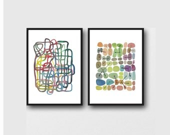 abstract watercolor prints set of 2 art prints,  watercolor paintings , abstract prints