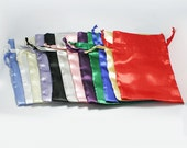 Set of 10 Satin Bags, Choose your Color, 4x6 Inch Favor Bags with Drawstrings - Wedding Favor Bags, Sachets, Gift Bags, Jewelry Bags