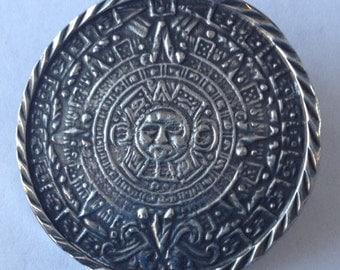 Sale Vintage Silver Aztec/Mayan Calendar Brooch Pendant Mexico