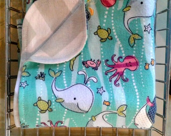 Under the Sea Gray Chevron Flannel Blanket