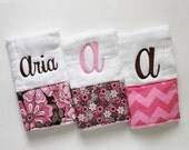 3 Personalized Baby Girl Burp Cloth Set in Pink and Brown - Flowers and Chevron