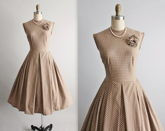 60's Dress // Vintage 1960's Polka Dot Taupe Cotton Full Garden Party Summer Pinup Dress L