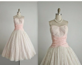 STOREWIDE SALE 50's Wedding Dress // Vintage 1950's Strapless White Chiffon Full Wedding Dress Tea Gown XS