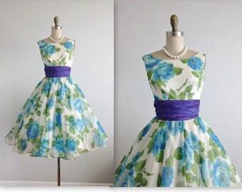 50's Floral Chiffon Dress // Vintage 1950's Blue Rose Chiffon Garden Party Cocktail Dress XS