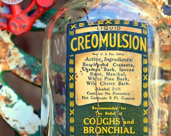 Antique CREOMULSION Apothecary Glass Bottle: Pharmaceutical Jar with Screw Top Cap -- Cough & Cold Folk Remedy Medicine