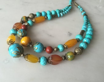 Blue turquoise chunky necklace earrings set, multi color, teal turquoise, red jasper, yellow agate, vintage style, antique brass, big, bold
