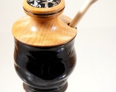 Honey jar with hardwood lid and dipper.