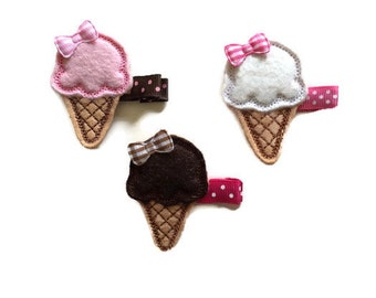 Ice cream felt hair clip baby hair clip ice cream cone baby hair clip toddler hair clip hair accessory hair clippies baby barrettes