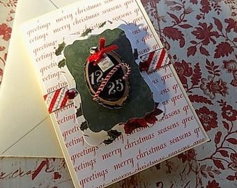 Handmade Christmas Card - 12/25 - Red Green - Rustic