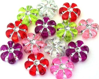 45 multicolor flower beads, 10x10mm acrylic, Christmas mix
