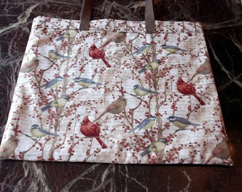 """BIRD LOVERS BAG XLg 15.5""""X18""""  Reusable Fabric Grocery, Farmers Market, w/long poly straps affordable Eco-Friendly Gift"""