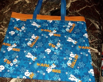 """OLAF """"FROZEN""""  BAG  15.5X18"""" New XLg Reusable Grocery, Farmers Market w/long silver poly straps , Affordable Eco-Friendly Gift"""