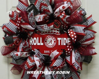 Alabama Sports Wreath, Crimson Houndstooth Wreath, College Wreaths