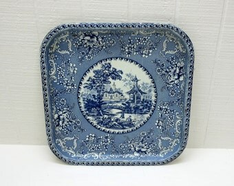 Vintage Daher Tray Blue Willow Square Metal Tray Made In England