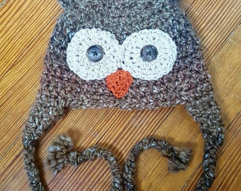 Fuzzy owl baby beanie with earflaps and braided cord