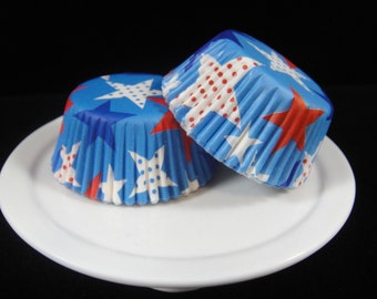 Patriotic Stars Mini Cupcake Liners, Mini Baking Cups, Mini Muffin Papers, Candy Cups, Fourth of July Liners, Patriotic Liners - QTY. 25
