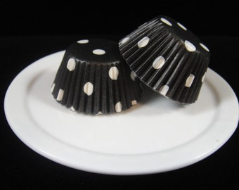 Black Polka Dot Mini Cupcake Liners, Mini Baking Cups, Mini Muffin Papers, Mini Candy Paper, Cake Pop Papers, Truffle Cases  - QTY. 25