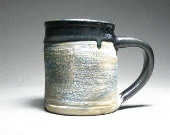 16 oz Coffee cup.  Rustic mug. Wheel thrown cup.   Soda fired mug