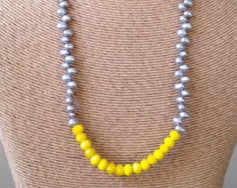 Beaded Necklace, Freshwater Pearl Necklace, Color Block Necklace, Gray and Yellow Necklace, Yellow Glass Beads, Etsy Jewelry