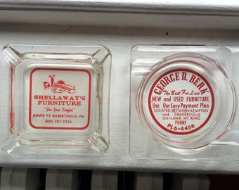 2 Nice Vintage Glass Ashtrays with Advertising
