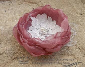 Dusty Rose Hair Piece, Dusty Wedding Clip, Elegant