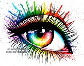 Signed Art Print Rainbow Eye Painting Pop Art Makeup 5x7, 8x10, or Apprx 11x14 - Pretty Fashion Edgy Colorful