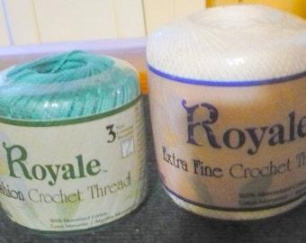 2 - J.P. Coats - Royale Fashion Crochet - Read Below  Size 3 - Warm Teal -0065 -  Royale Extra Fine Crochet Thread Size- 30 - White -0201