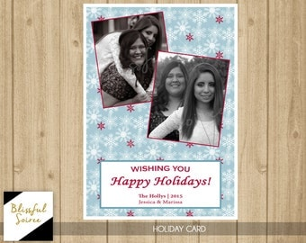 Photo Christmas Card | Happy Holidays | Snowflakes | Holiday Card | Blue and Red Snowflakes | Christmas Card