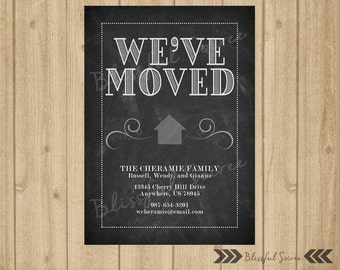 Chalkboard Moving Announcement | New Home | We've Moved Announcement | Change of Address Card | Black | New Address Card