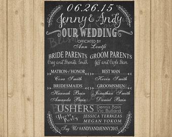 chalkboard wedding program sign 24x36 printable wedding program sign wedding decor wedding signage