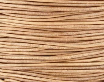 Leather-1.5mm Round Cord-Soft-Natural-10 Meter Spool