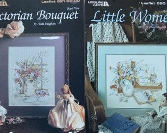 Little Women & Victorian Bouquet – Paula Vaughan - Leisure Arts # 590, #521 – 2 Cross Stitch Charts