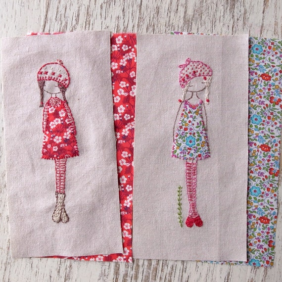 lavender girl embroidery pattern