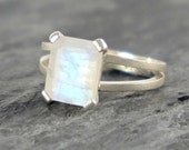 HOLIDAY SALE Moonstone Engagement Ring , Rainbow Moonstone Sterling Silver Ring , Faceted Rainbow Moonstone Jewelry Emerald Cut Ring - MADE