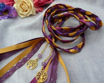 Purple and gold tree of life Handfasting cord- with amethyst beads