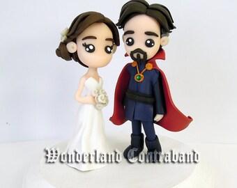 "NEW - Simple ""4 Fantasy Groom and Bride - Wedding Cake Topper - ORIGINAL OOAK Miniature Sculptures - Decor"
