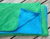 """LARGE SIZE Minky Double-Sided Blankets- You Pick Colors and Size!-- 60""""x60"""" (throw), 60""""x72"""" (twin blanket), 60""""x90"""" (twin spread)"""