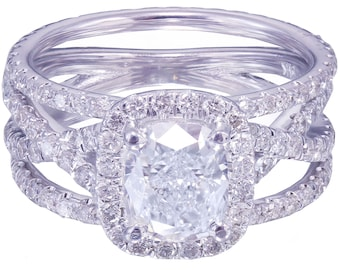 14k white gold cushion cut diamond engagement ring and bands 2.65ct H-VS2 EGL US